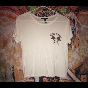 white tee with rose graphic